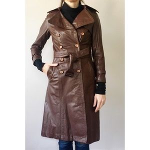 Vintage 70s Leather Trench Coat XS